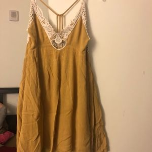 Women's Free People Yellow Lace Summer Dress